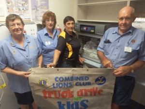 Lions members Kay Mason, Jill Yarnold, Dorothy Grima and Stan Mason visit the Special Care Nursery to see the new blanket warmer.